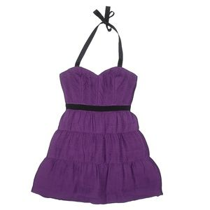 BCBGMAXAZRIA Flattering Ruched Purple Dress
